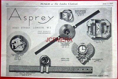 1937 ASPREY of Bond St. Ladies Speciality Watches AD - Art Deco Print ADVERT