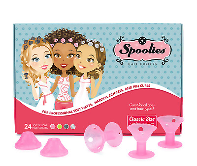 Spoolies Hair Curlers Official Store, 24 Rollers, Heatless Rod Wave Ringlet Curl