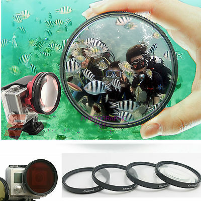 58MM close up +1+2+4+10 filter kit +Adapter Ring FOR GoPro Hero3+ 4