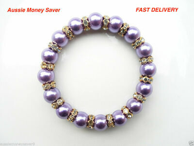 Classic Purple Pearl bead bracelet Bangle Gold baby christening FREE Gift Bag