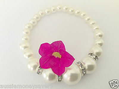 Classic White Silver Pearl bead bracelet Bangle baby christening FREE Gift Bag