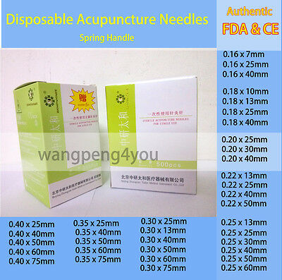 Disposable Acupuncture spring handle Needles 1000pcs 0.16 / 0.18 /0.20 /0.25