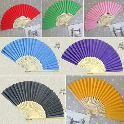 Wholesale Folding Hand Held Paper Fans Wedding Party Decor Pocket Bamboo Fan H53