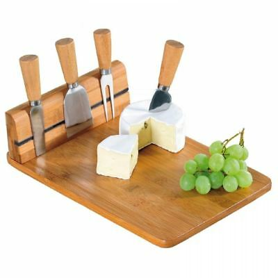 Natural Wooden Bamboo Magnetic Cheese Board Chopping Slicing Knife Set 978227