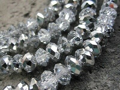 100 pcs  RONDELLE FACETED GLASS CRYSTAL BEADS 6mm silver plated jewellery making