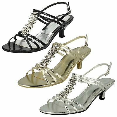 Ladies Spot On Mid Heel Diamante Trim Ankle Strap Sandals