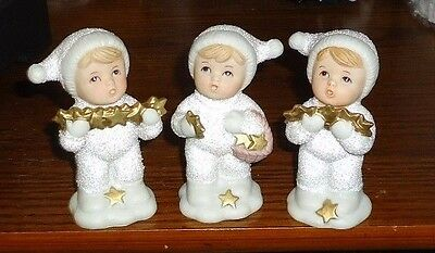 Homco Christmas Boys holding  stars white glittery snow suits Figurines set of 3