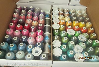 107 x 1000M REELS EXC QUALITY POLYESTER MACHINE EMBROIDERY THREADS #EN71-3 CERT#