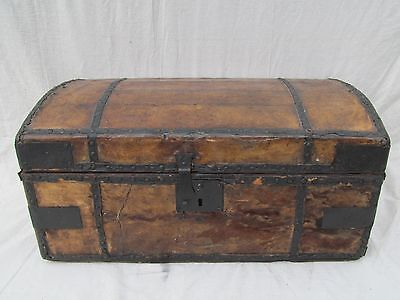 Early Antique 19Th Century Leather & Hyde Covered Stagecoach Trunk Chest Box