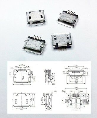 Conector micro USB SMD hembra female connector buchse anschluss connecteur