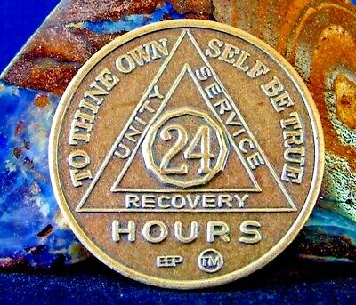 Alcoholics Anonymous AA 24 Hours Bronze Medallion token Coin Chip Sobriety Sober