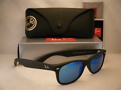 Ray Ban New Wayfarer Matte Black w Blue Mirror Flash Lens (RB2132 622/17 52)