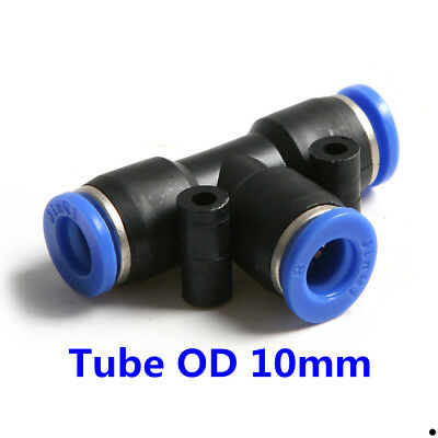 "10Pcs Pneumatic Tee Union Connector Tube OD 3/8"" 10MM Air Fitting"