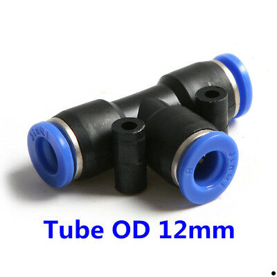 """10Pcs Pneumatic Tee Union Connector Tube OD 1/2"""" 12MM Air Fitting"""