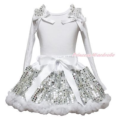 Plain White Shirt Top White Bling Sequins Girl Skirt Clothing Outfit Set 1-8Year