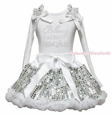 Bling In The New Year White Shirt Top Bling Sequins Girls Skirt Outfit 1-8Year