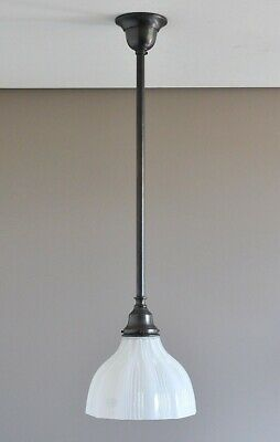 Magill-One Light Pendant-Bronze-Railway Opal Glass Shade-French Provincial Rod
