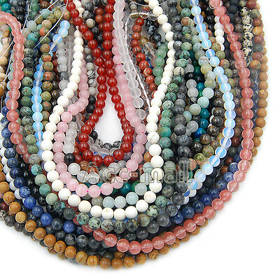 "Fashion Natural Gemstones Round Loose Beads Jewelry Making 15""-16"" 4mm 6mm 8mm"
