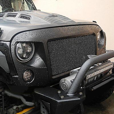 Black Aggressive Spartan Front Grille With Mesh Inserts For Jeep Wrangler JK