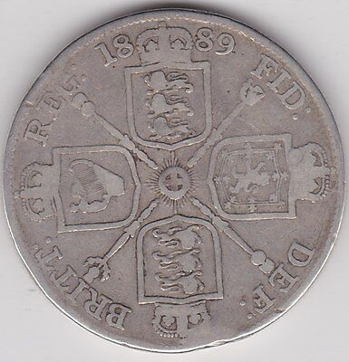 Inverted One 1889 Double Florin In Fair To Fine Condition