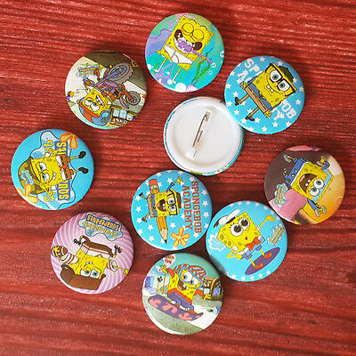 5pcs Sponge Bob 30mm Plastic Badge Brooch Pin Birthday Party Lolly Bag Gift