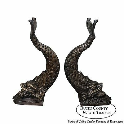 Quality Neo Classical Style Pair of Cast Iron Serpent Dolphin Pedestals