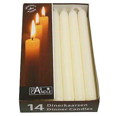 """IVORY Top Quality Dinner Candles, Pack of 14, 23cm/9"""" Tall Non Drip, Tapered"""