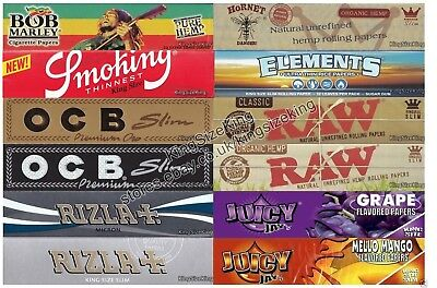 Rizla Kingsize Rolling Papers SET + OCB King size Paper + Elements + Raw Hemp...