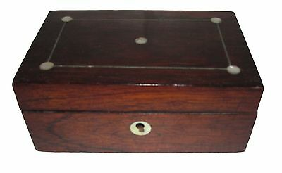 19Th C Antique English Victorian Rosewood & Mother Of Pearl Inlaid Jewelry Box