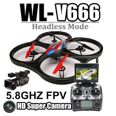 WLtoys V666 5.8G FPV 6 Axis RC Quadcopter With HD Camera Drones Monitor RTF Toy