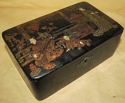 Antique Japanese Lacquerware Coin Box With Geisha Figures
