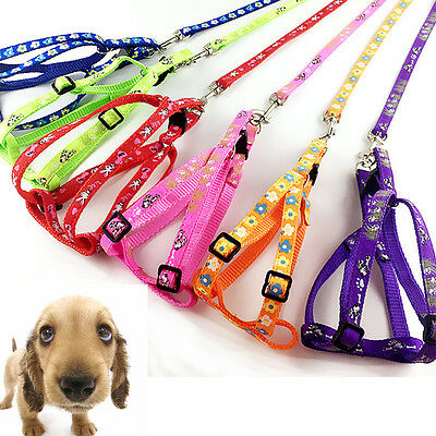 Hot Small Dog Pet Puppy Cat Adjustable Nylon Harness with Lead leash 6 Colors
