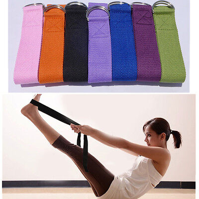 183cm Yoga Strap Metal D Ring Sports Belts Waist Leg Fitness Exercise Gym Rope