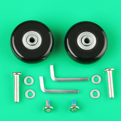 2 Set Luggage Suitcase Replacement Wheels Axles Wrench Deluxe Repair OD 50mm