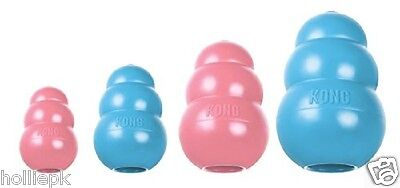 Kong Puppy Chew Dog Toy Treat Dispenser Durable Rubber 4 Sizes Pink Or Blue