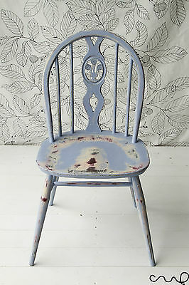 Shabby Chic Painted Ercol Chair Distressed Red Yellow Blue Annie Sloan Vintage