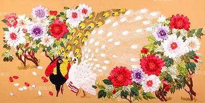Ribbon Embroidery Kit the peacock and Flowers Needlework Craft Kit XZ1030