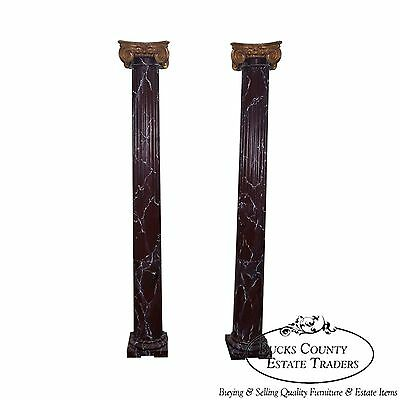 Quality Pair of Vintage Faux Painted Wood Corinthian Columns