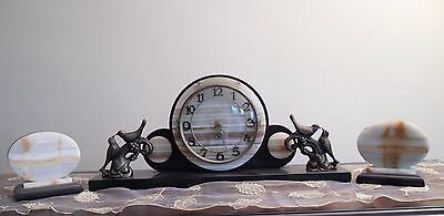 Rare German Art Deco 1930's Marble Clock with Birds and Two Garnitures