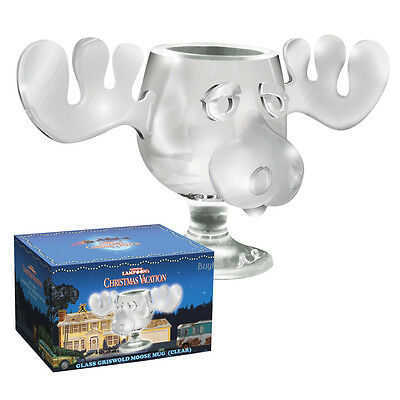 NEW Christmas Vacation Griswold 8oz Cllear Glass Hollow Nose Marty Moose Mug OOP