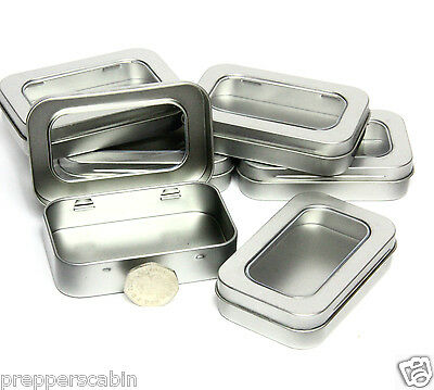 SMALL SILVER METAL TIN WITH HINGED WINDOW LID - Survival kit Camping Storage Box