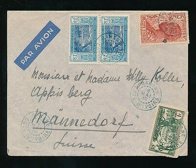 FRENCH WEST AFRICA IVORY COAST 1939 DANANE PMK in BLUE...AIRMAIL MULTI FRANKING