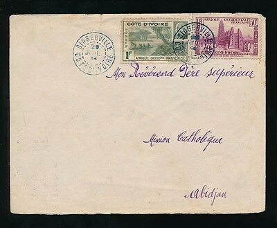 FRENCH WEST AFRICA IVORY COAST BINGERVILLE COLOURED CANCEL on INTERNAL COVER