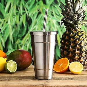 Insulated Stainless Steel Cold Cup with Lid and Straw 16oz - Grande Cold Cup