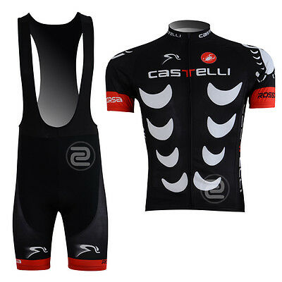 New Fashion Mens Cycling Jersey Bib Shorts 3D Gel Padded Outfits Costume Black