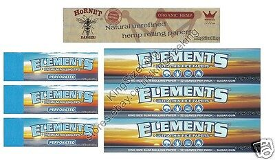 King Size Elements Rolling Papers And White Hornet Hemp And Elements Roach Tips