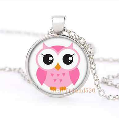 Cute Cartoon Pink Owl Glass Dome Silver Necklace for men woman Jewelry#B30