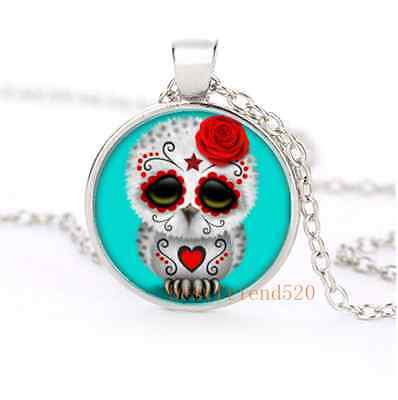 Cartoon Sugar Skull Owl Glass Dome Silver Necklace for men woman Jewelry#B29