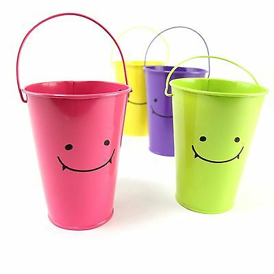 Tall Smiley Face 10x13x16.5cm Bucket with Long Handle.  Mini Sweet Tree Pails