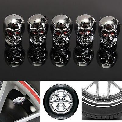 5Pcs Red Eyes Evil Skull Tyre Tire Air Valve Stem Dust Caps For Car Bike Truck